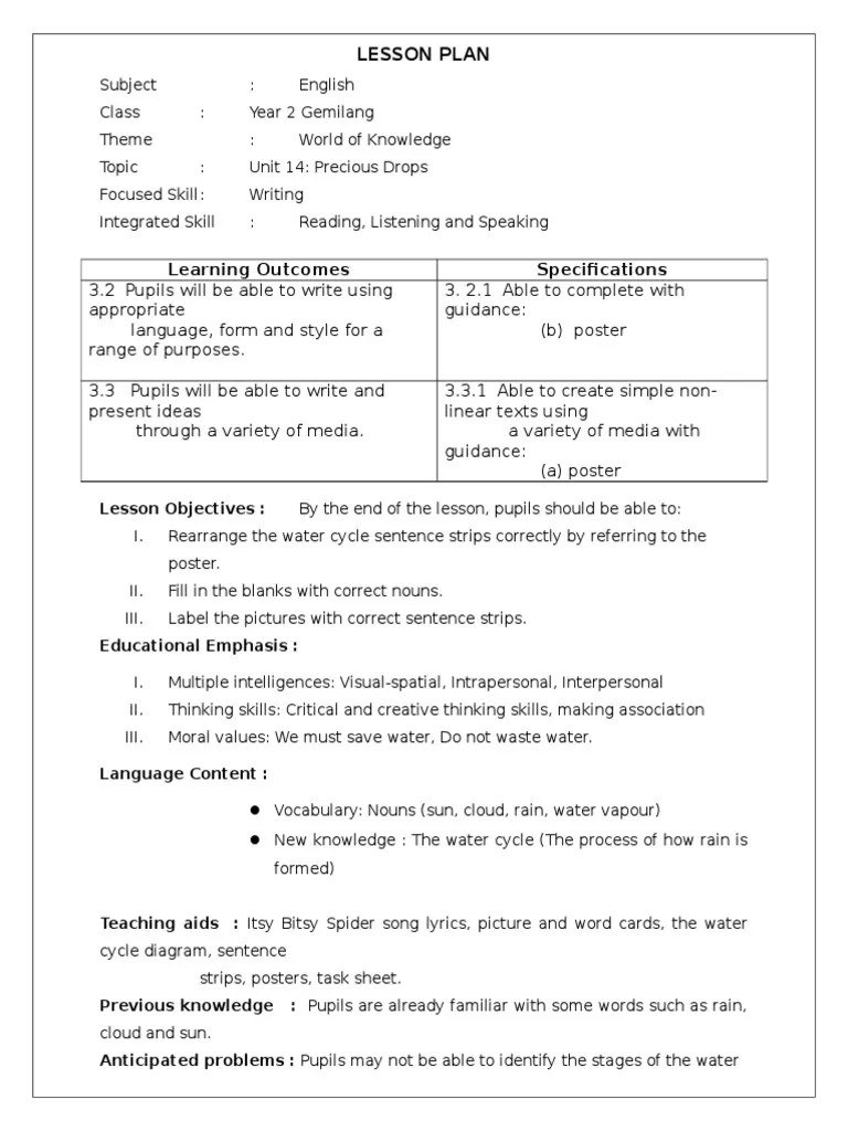 hight resolution of 168539558 lesson plan writing water cycle lesson plan neuropsychological assessment