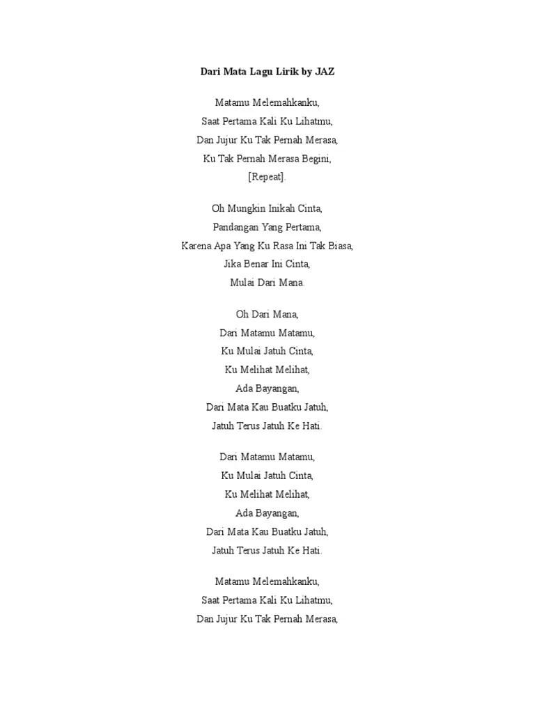 lirik lagu jaz dari mata - Lirik Lagu Terbaru