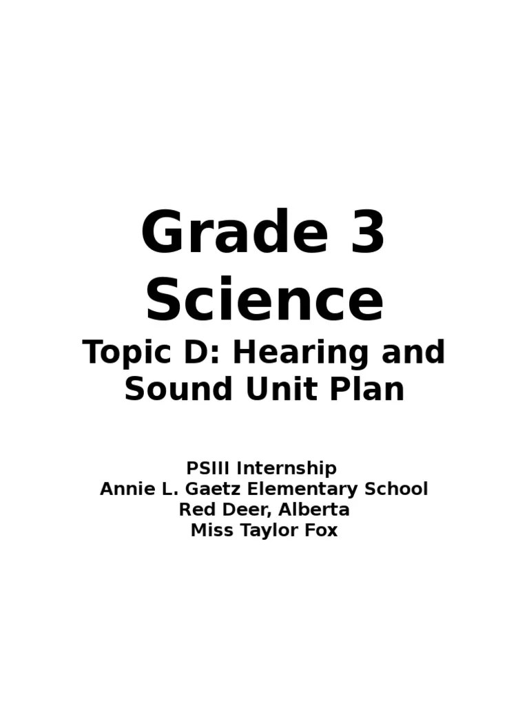small resolution of hearing and sound unit plan   Sound   Lesson Plan