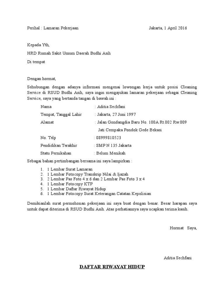 Contoh Surat Lamaran Kerja Ke Rumah Sakit Sebagai Cleaning Service Contoh Seputar Surat Cute766