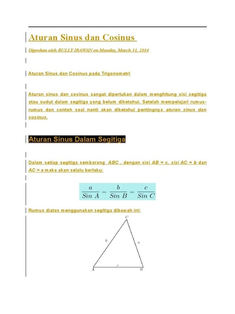 Rumus Aturan Sinus : rumus, aturan, sinus, Aturan, Sinus, Cosinus, Cute766
