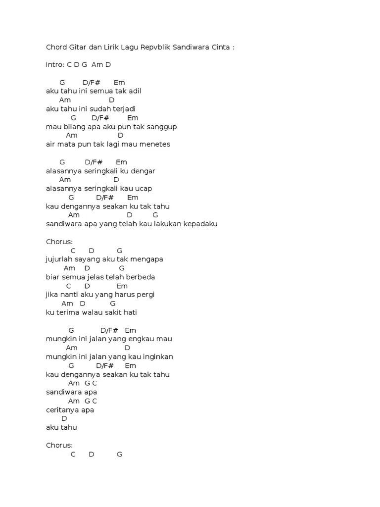 Chord/Kunci Gitar Repvblik - Sandiwara Cinta | Mudah