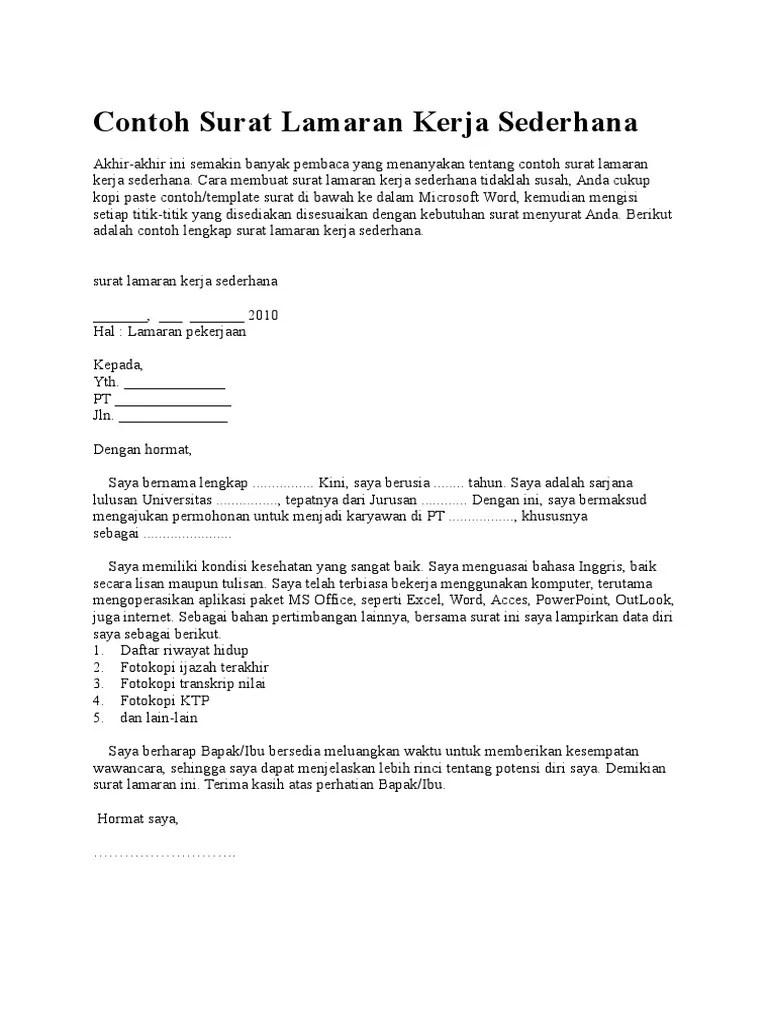 Contoh Surat Lamaran Kerja Sederhana : contoh, surat, lamaran, kerja, sederhana, Contoh, Surat, Lamaran, Kerja, Sederhana