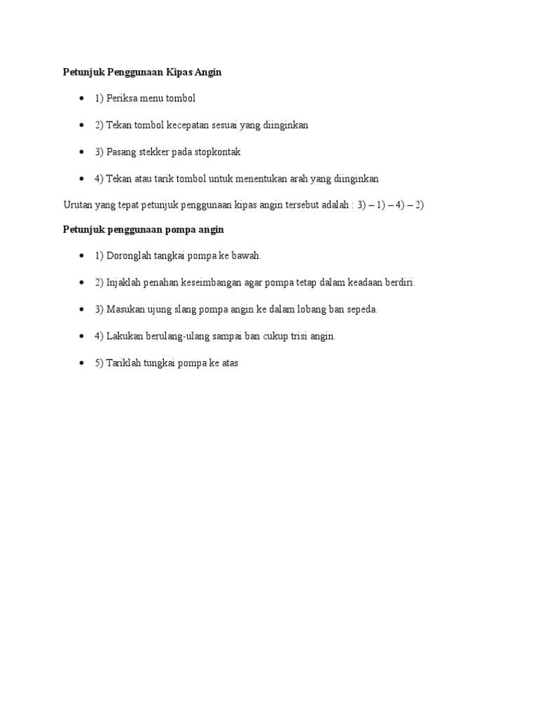 10 Soal Menyusun Petunjuk Memakai atau Menggunakan Sesuatu