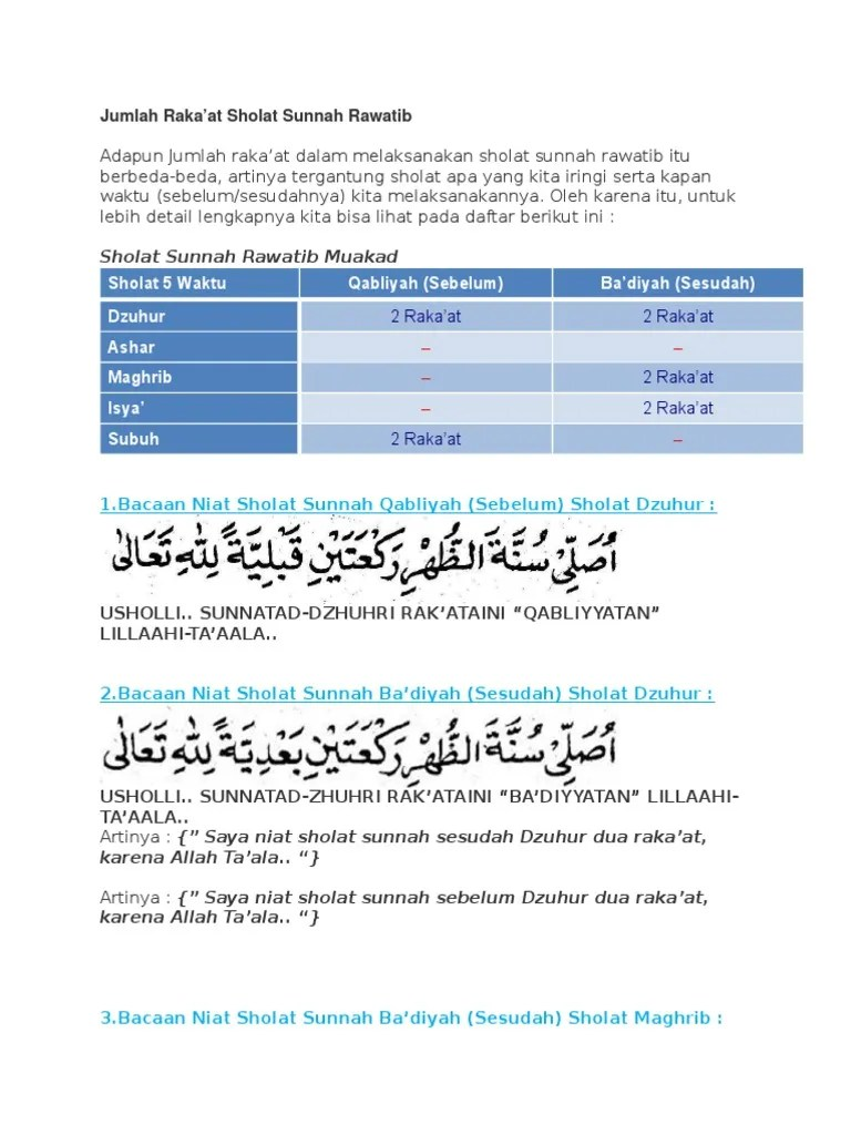 Niat Shalat Rawatib : shalat, rawatib, Jumlah
