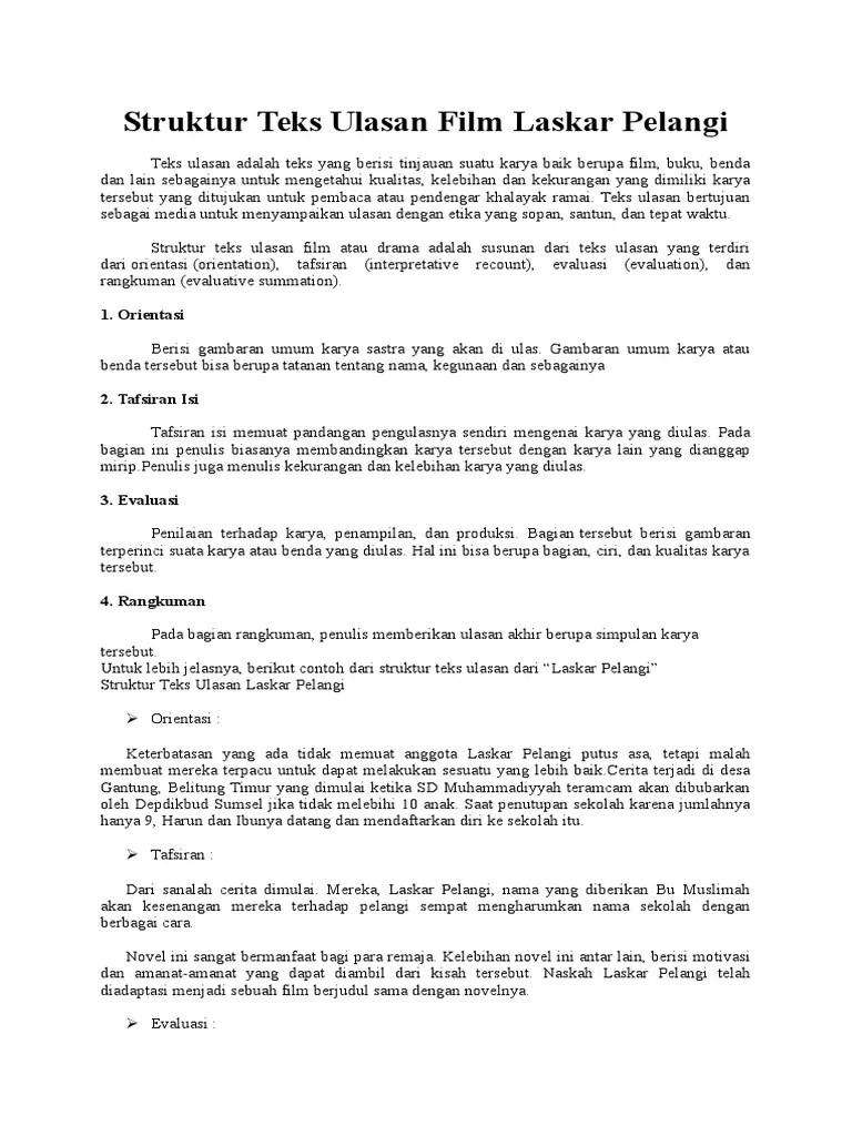 Teks Ulasan Film Laskar Pelangi : ulasan, laskar, pelangi, Struktur, Ulasan, Laskar, Pelangi