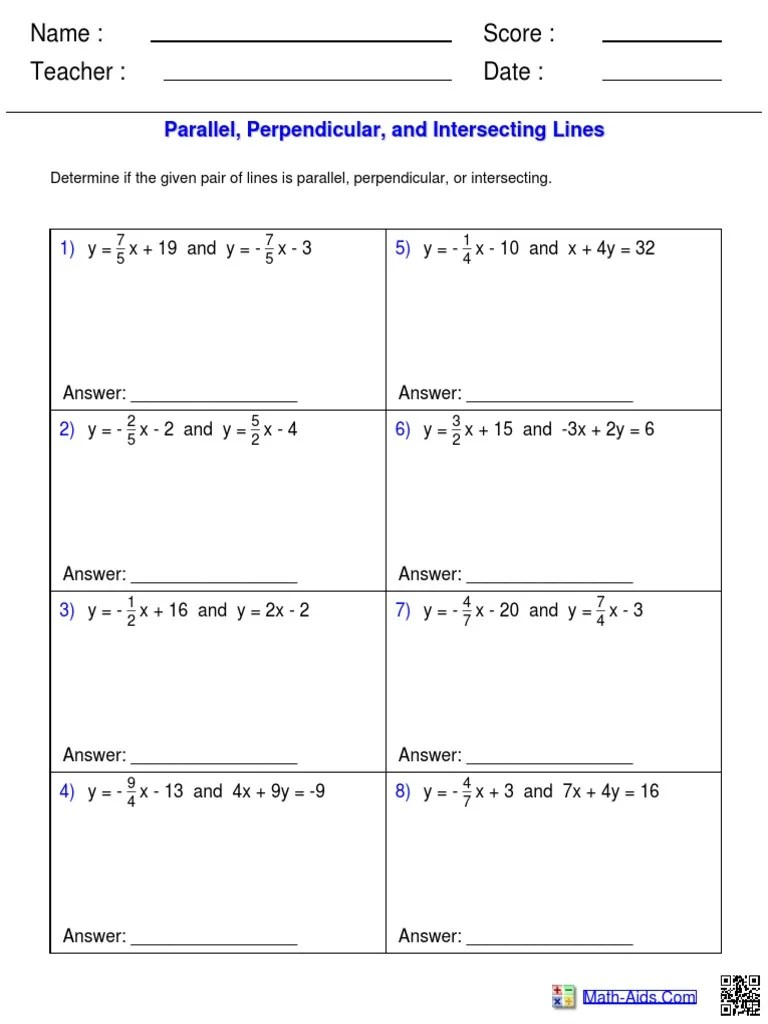 medium resolution of Parallel Perpendicular And Intersecting Lines Worksheet Answers - Nidecmege