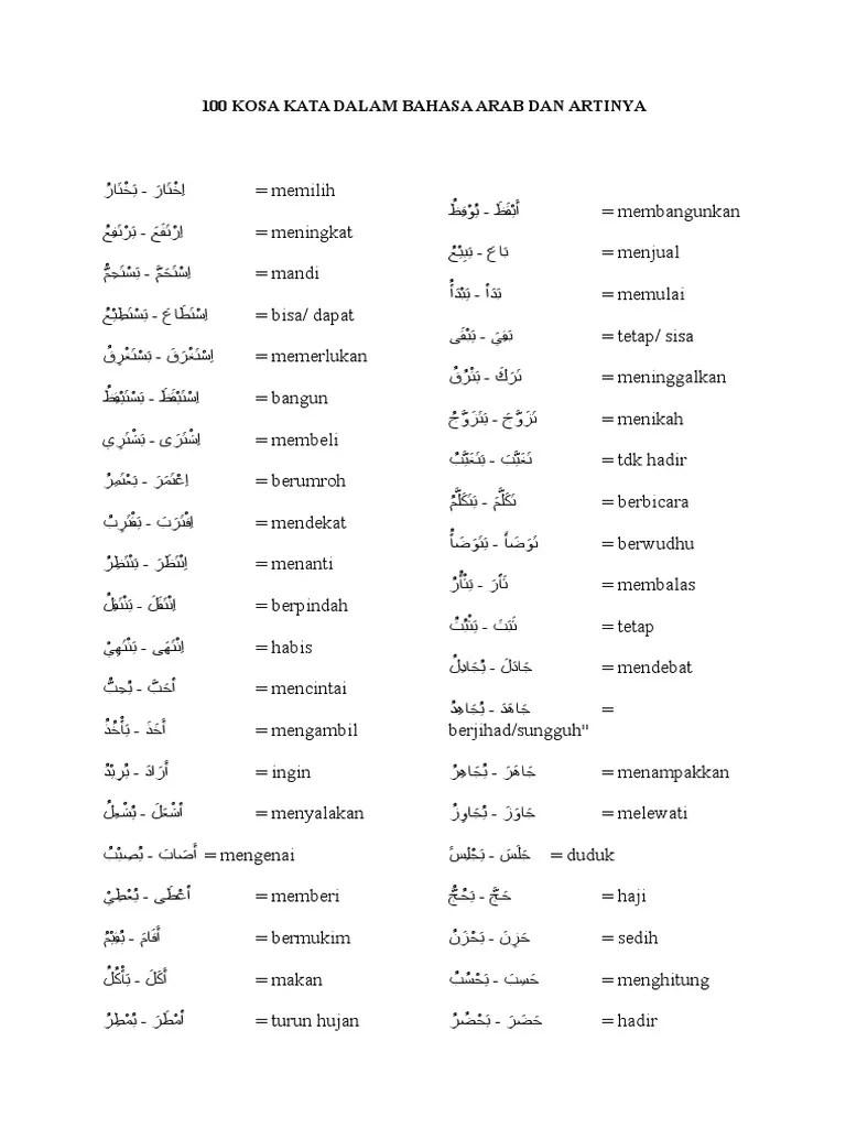 Kosakata Bahasa Arab Pdf : kosakata, bahasa, Dalam, Bahasa, Artinya