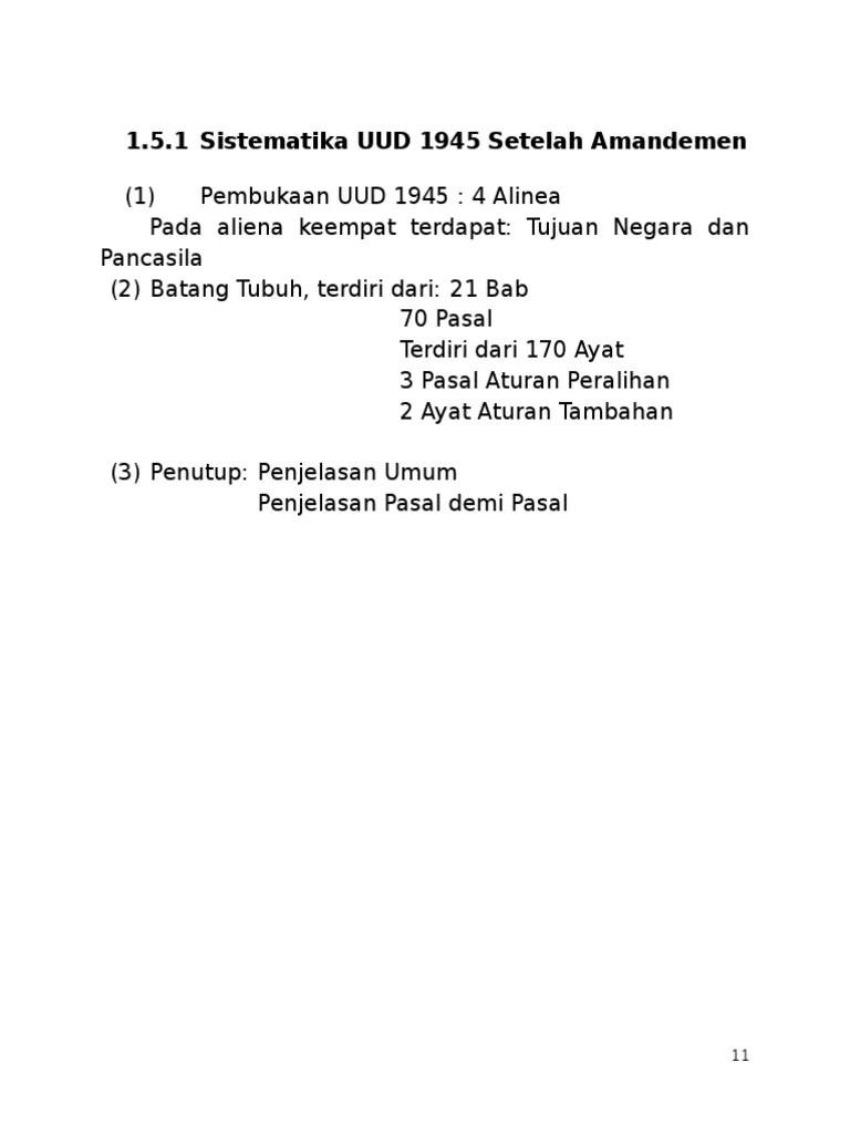 Sistematika Uud 1945 Sebelum Dan Sesudah Amandemen : sistematika, sebelum, sesudah, amandemen, Sistematika, Setelah, Amandemen