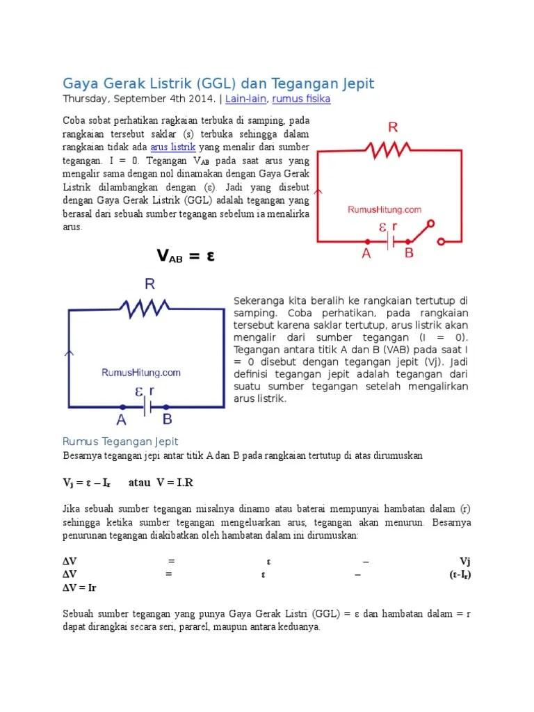 Gaya Gerak Listrik (GGL) | 2. setelah itu masukan ke rumus berikut