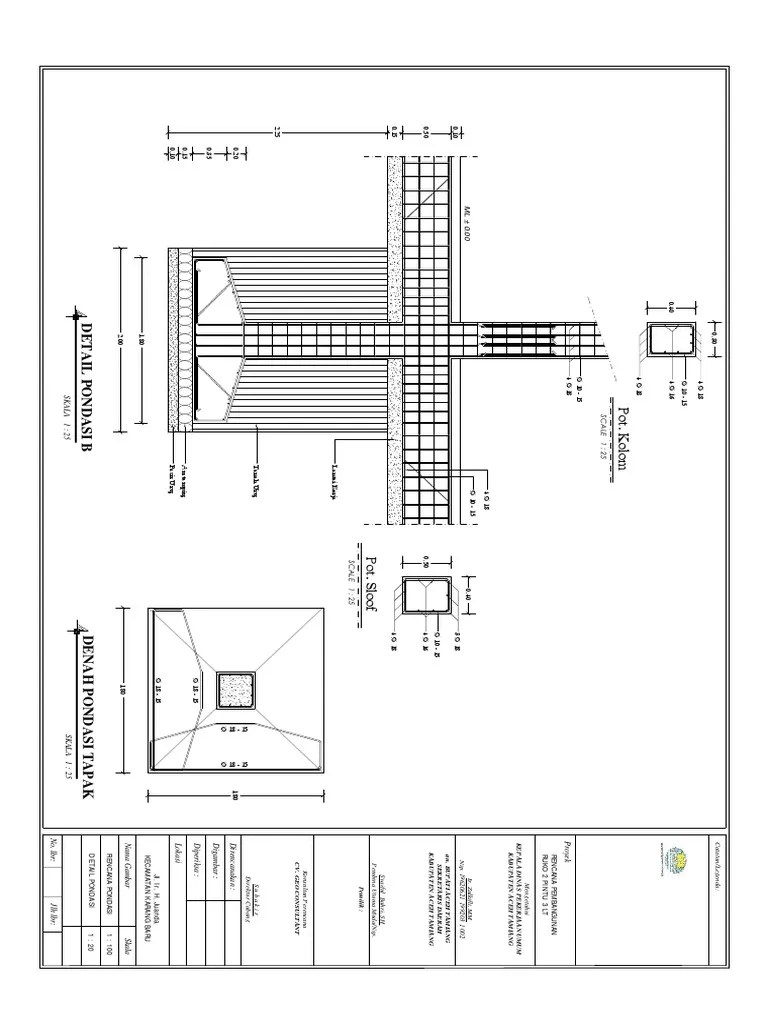 Detail Pondasi Telapak : detail, pondasi, telapak, Detail, Pondasi