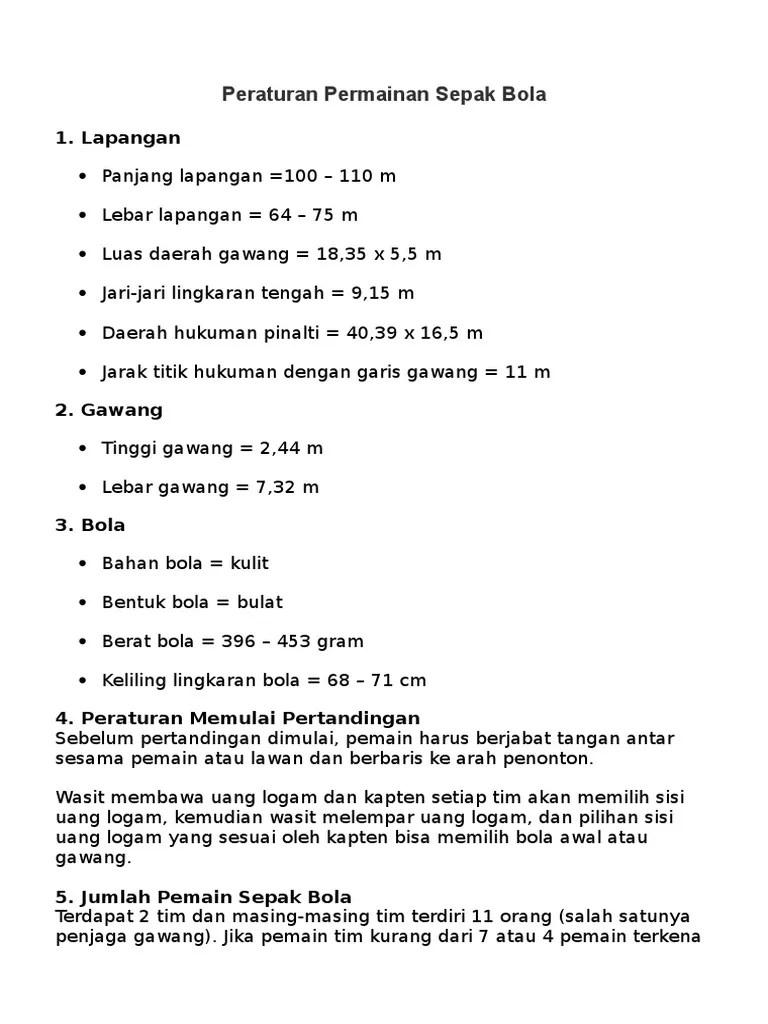 Berat Bola Dalam Permainan Sepak Bola : berat, dalam, permainan, sepak, Peraturan, Permainan, Sepak