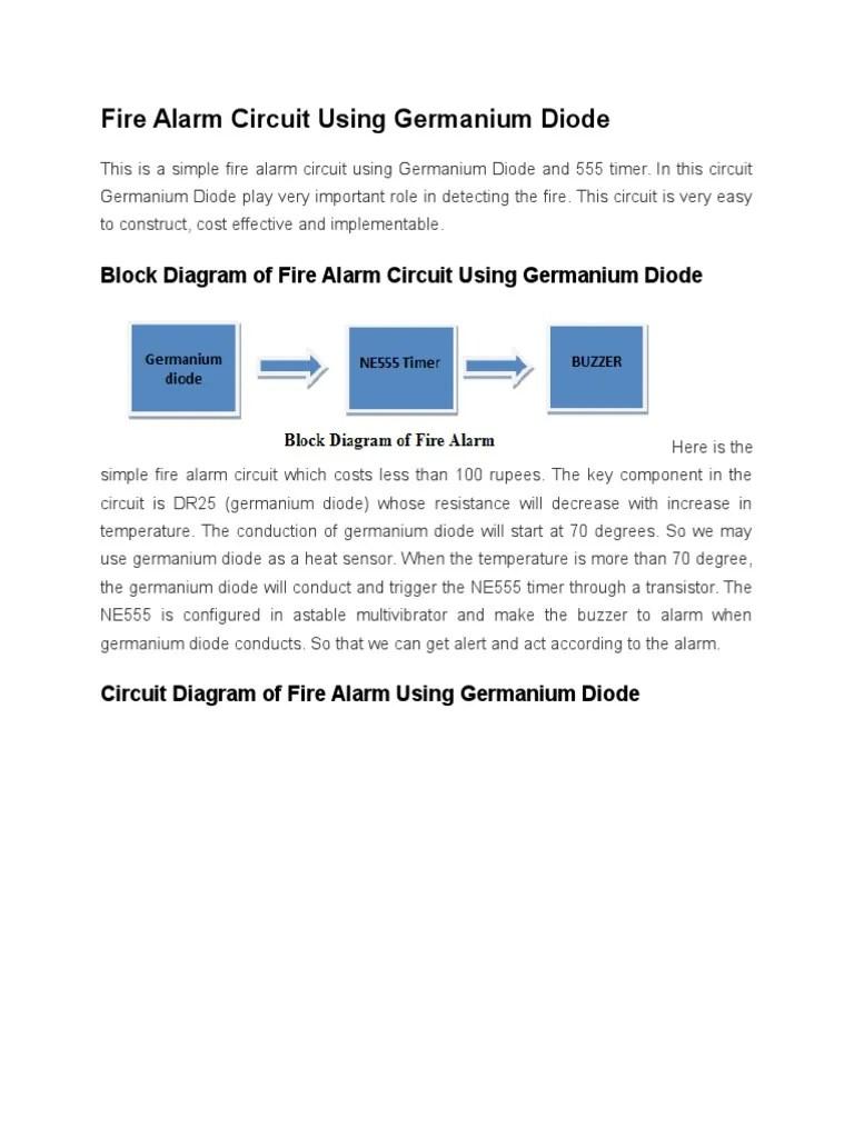 medium resolution of fire alarm circuit using germanium diode circuit diagram of fire alarm using germanium diode