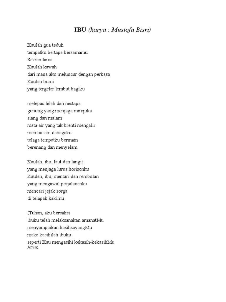 Teks Puisi Ibu Karya Mustofa Bisri : puisi, karya, mustofa, bisri, Puisi, Karya, Mustofa, Bisri, Dalam