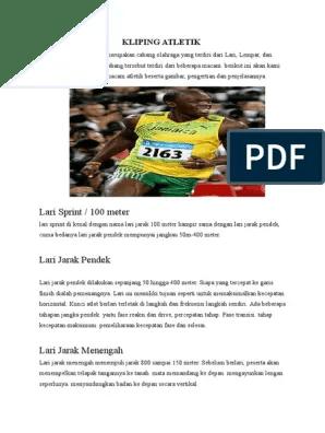 Pengertian Atletik Lari Jarak Pendek : pengertian, atletik, jarak, pendek, Kliping, Atletik, Sketsa