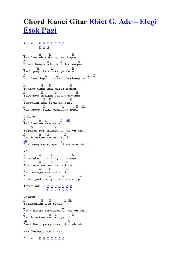 Lirik Lagu Elegi Esok Pagi : lirik, elegi, Lirik, Ebiet, Elegi, Chord, CUACA