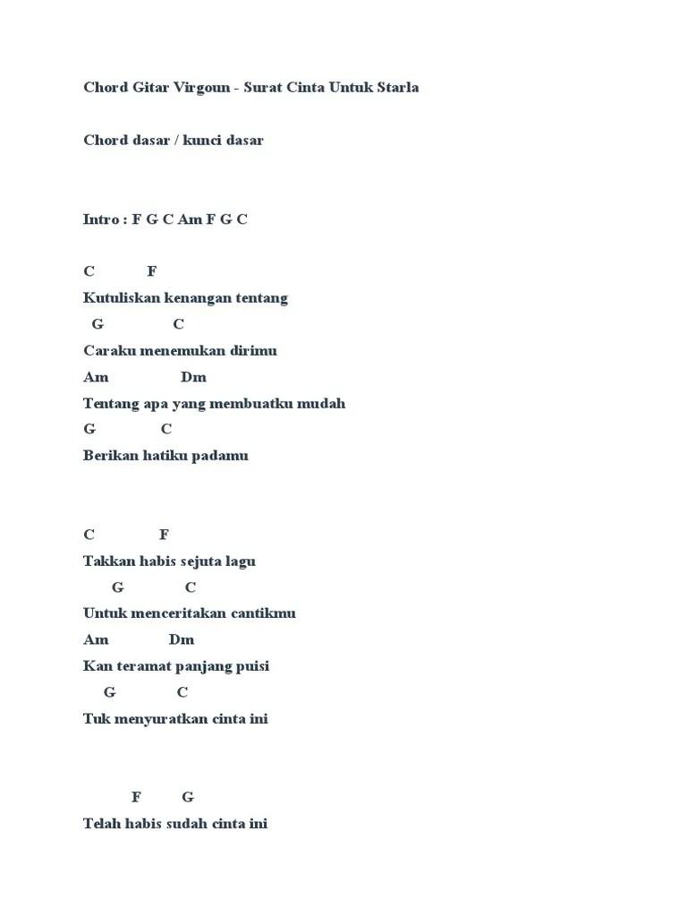 Chords for SURAT CINTA UNTUK STARLA CHORD GITAR PALING MUDAH