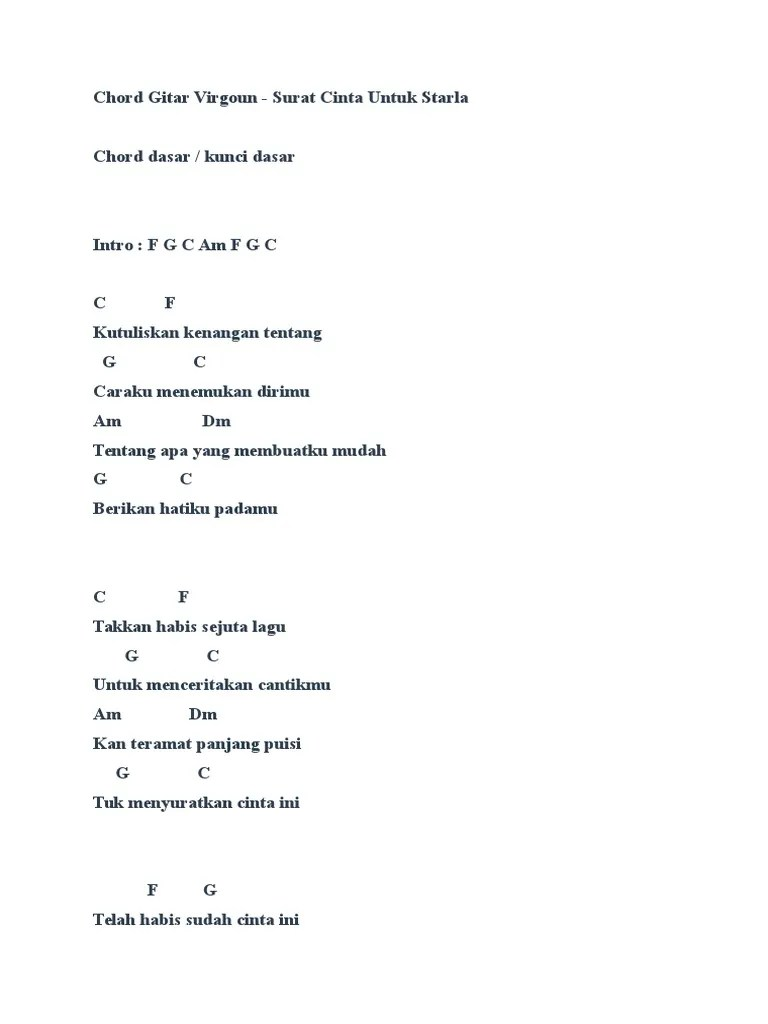 Kunci Gitar Virgoun - Surat Cinta Untuk Starla Chord Dasar