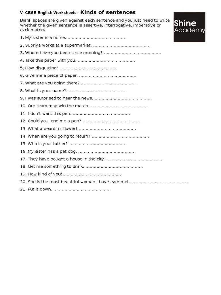 medium resolution of Kinds of Sentences
