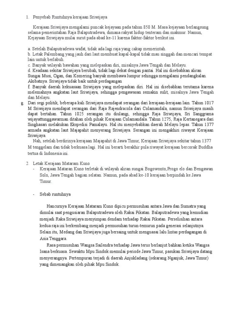 Runtuhnya Kerajaan Sriwijaya - Pengayaan.com