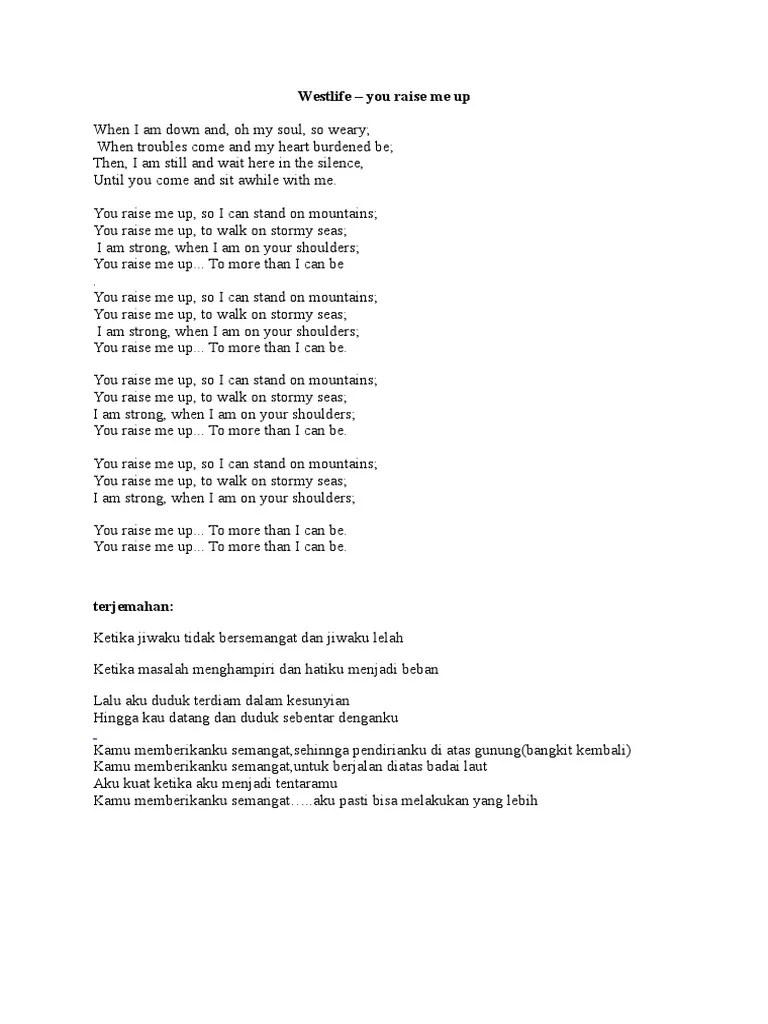 Lirik Lagu You Raise Me Up Dan Terjemahannya : lirik, raise, terjemahannya, Lyrics, Center:, Raise, Westlife