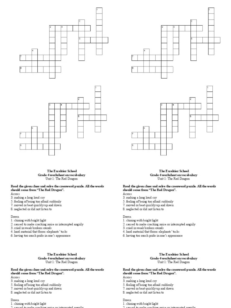 Grade 4 Unit 1 Crossword Puzzle   Crossword   Single Player Games [ 1024 x 768 Pixel ]