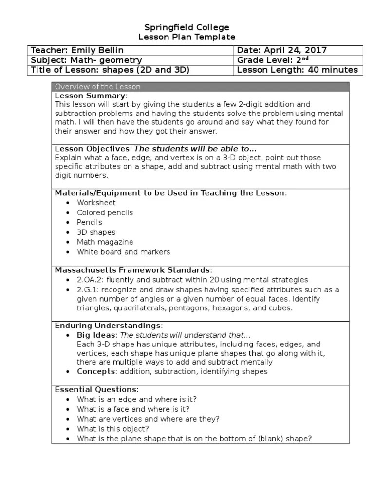 small resolution of sped unannounced observation 2   Shape   Lesson Plan