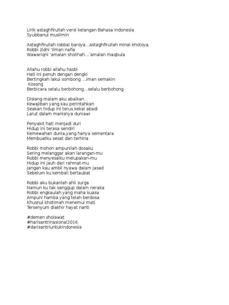 Lirik Sholawat Astagfirullah : lirik, sholawat, astagfirullah, Lirik, Astaghfirullah, Versi, Kelangan, Bahasa, Indonesia