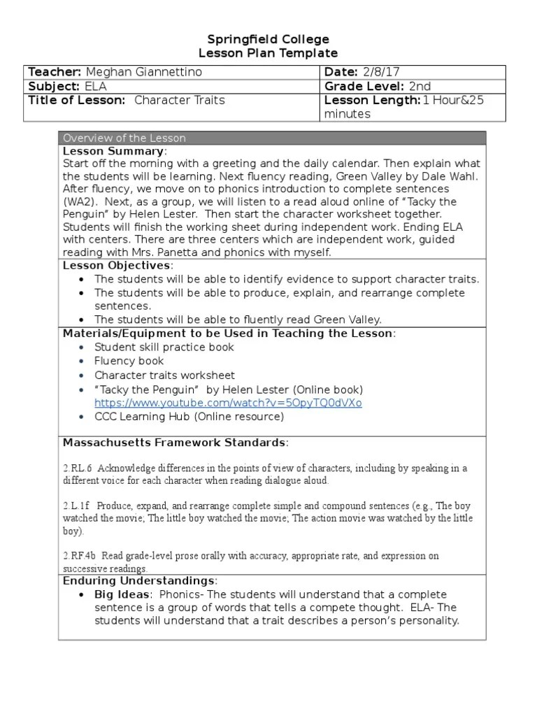 small resolution of character traits lesson   Phonics   Educational Assessment