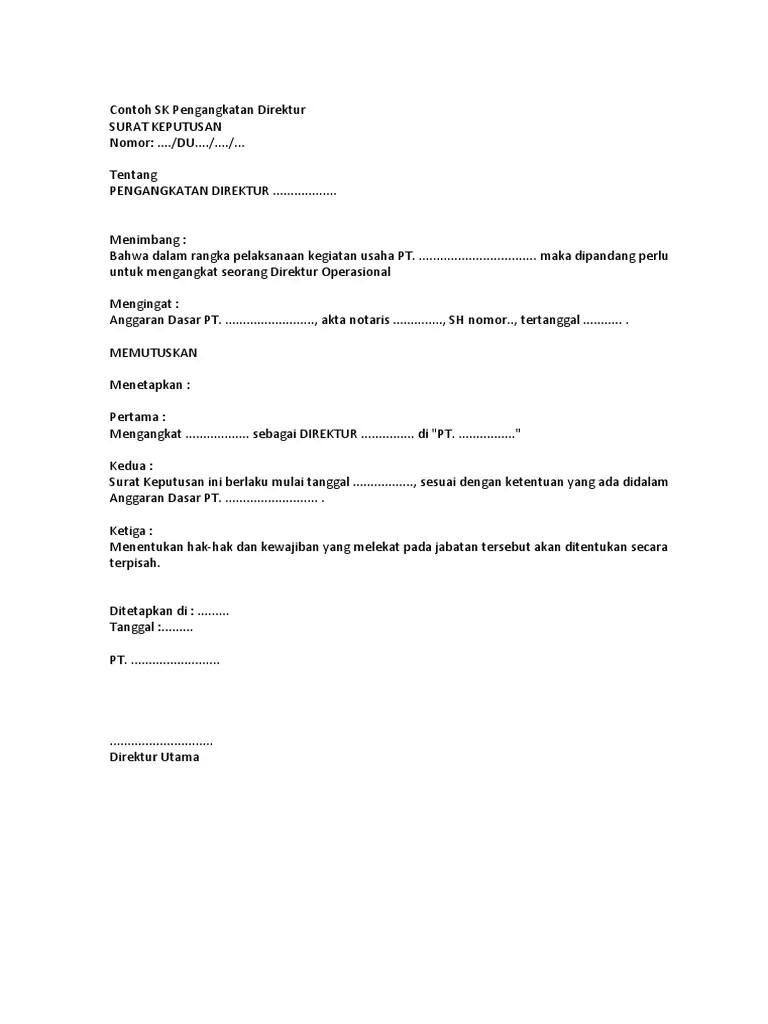 Surat Pengangkatan Direktur : surat, pengangkatan, direktur, Contoh, Pengangkatan, Direktur