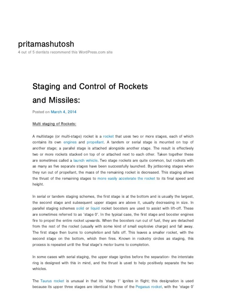 hight resolution of staging and control of rockets and missiles pritamashutosh multistage rocket rocket
