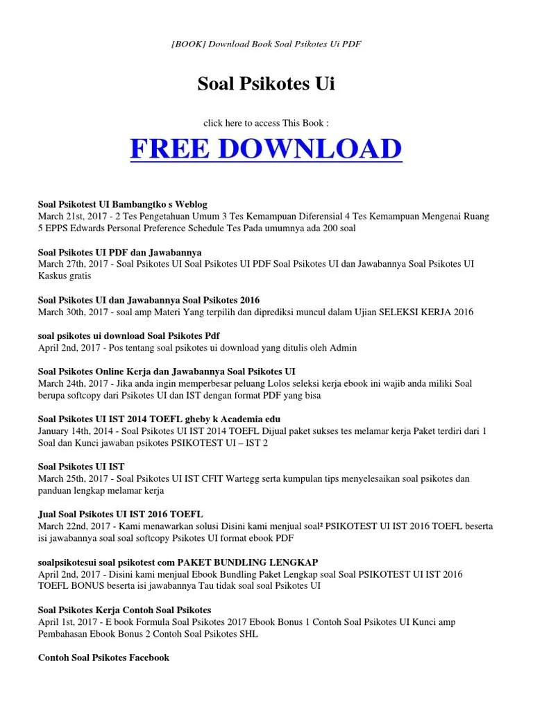 Download Soal Psikotes Dan Jawabannya Pdf : download, psikotes, jawabannya, Download, Contoh, Psikotes, Entrancementonly