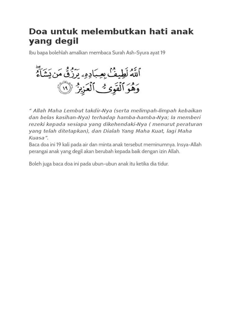 Doa Melembutkan Hati Anak : melembutkan, Untuk, Melembutkan, Degil