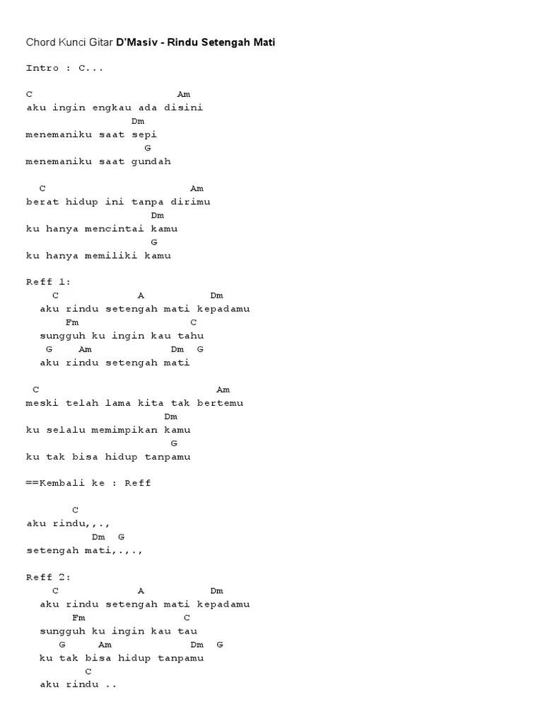 Chord D'masiv Rindu Setengah Mati : chord, d'masiv, rindu, setengah, Chord, Kunci, Gitar, Nyanyi