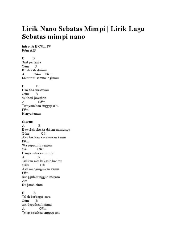 SEBATAS MIMPI CHORDS by Nano (Indonesia) @ Ultimate-Guitar.Com