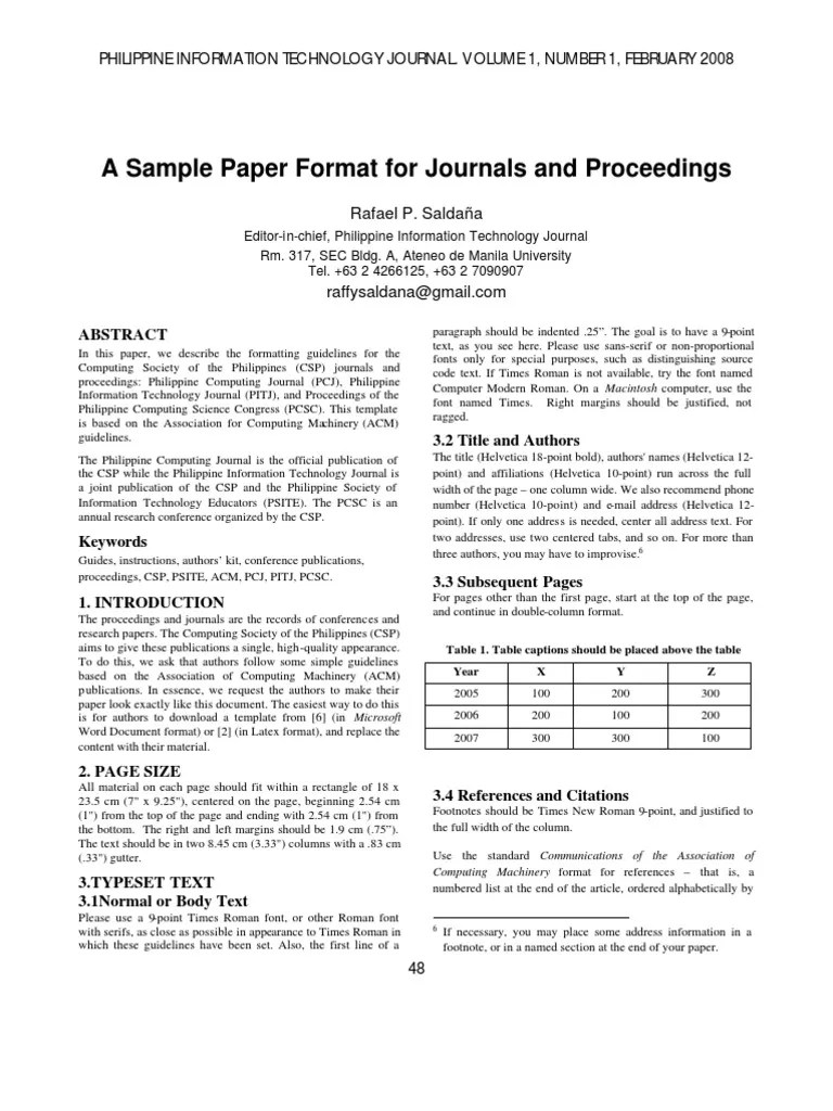 ACM Format Times New Roman Citation