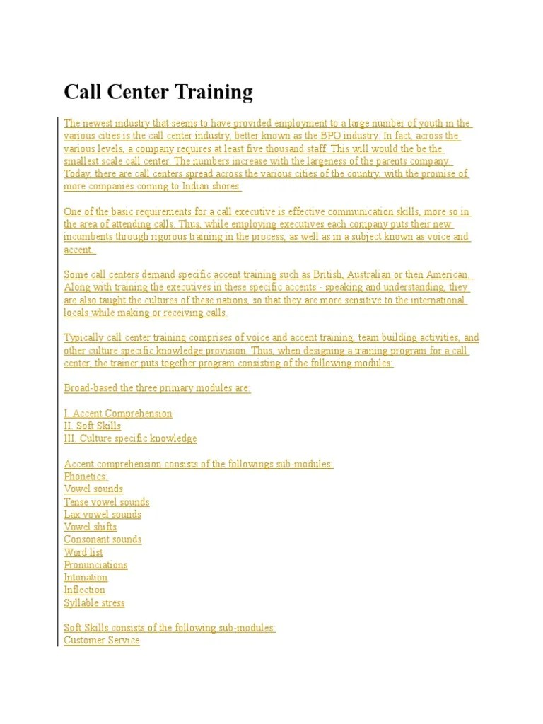 List Of Call Centers Call Center Training Docx English Language Nonverbal Communication