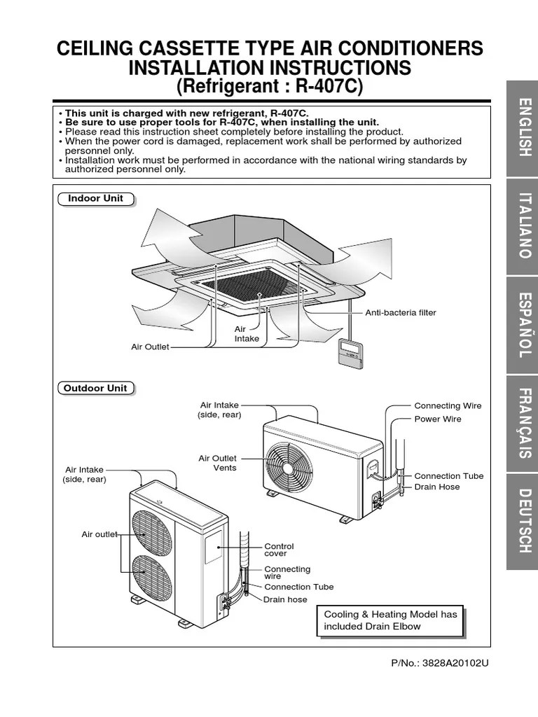 hight resolution of cassette r407c 4 way installation manual pdf electrical wiring ac installation diagram
