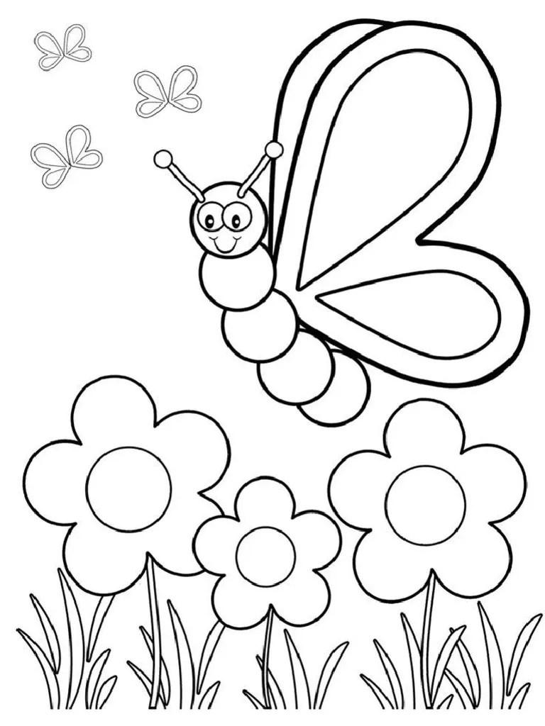 Gambar Bunga Dan Kupu-kupu : gambar, bunga, kupu-kupu, Mewarnai, Bunga
