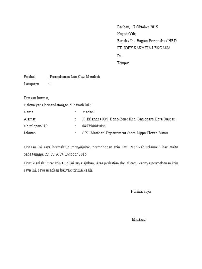 Surat Cuti Menikah : surat, menikah, Contoh, Surat, Menikah, Cute766