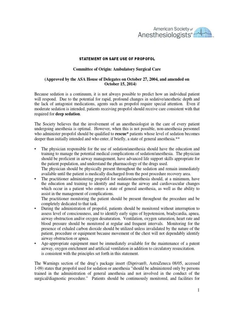 Statement on Safe Use of Propofol   Anesthesia   Pain