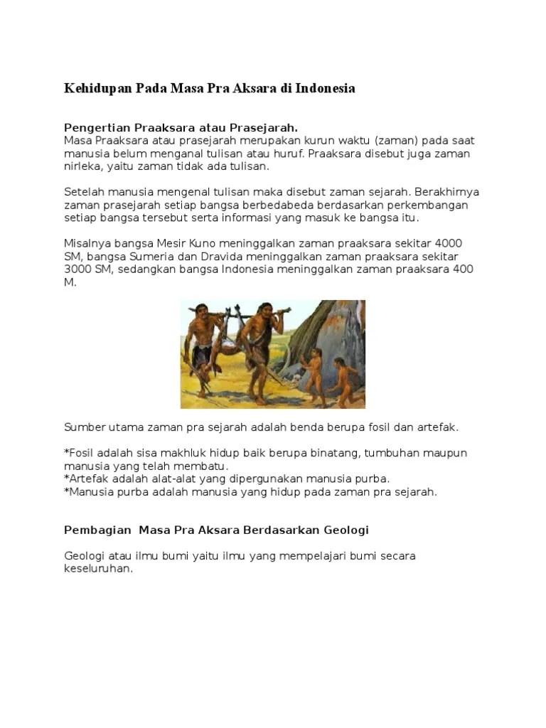 Pengertian Zaman Praaksara Dan Prasejarah : pengertian, zaman, praaksara, prasejarah, Kehidupan, Aksara, Indonesia