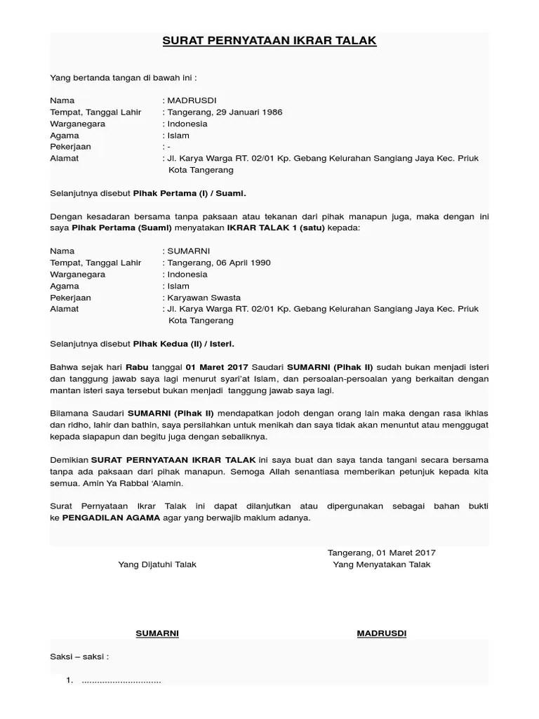 Contoh Surat Talak : contoh, surat, talak, Contoh, Surat, Talak