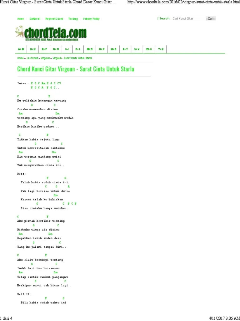 Chord Gitar Lagu Surat Cinta Untuk Starla : chord, gitar, surat, cinta, untuk, starla, Kunci, Gitar, Virgoun, Surat, Cinta, Untuk, Starla, Chord