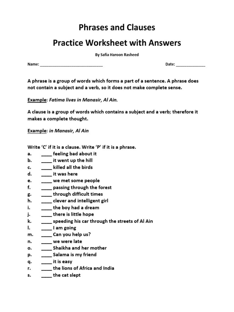 Phrase Vs Clause Worksheet Pdf [ 1024 x 768 Pixel ]