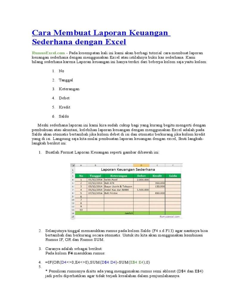 Rumus Excel Saldo Debet Kredit : rumus, excel, saldo, debet, kredit, Membuat, Laporan, Keuangan, Sederhana, Dengan, Excel