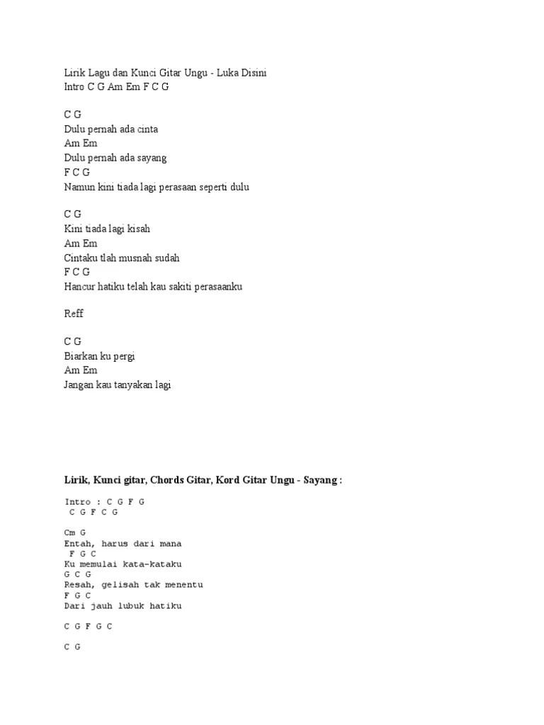 Chord Ungu Dulu Pernah Ada Cinta : chord, pernah, cinta, Lirik, Kunci, Gitar