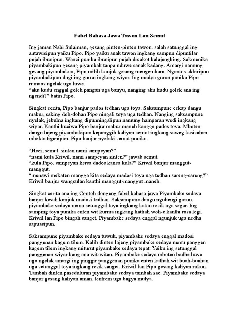 Kumpulan Cerita Fabel Versi Bahasa Jawa - Contoh Kertas