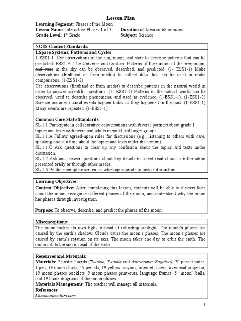 hight resolution of 1st grade science lesson plans   Moon   Astronomy