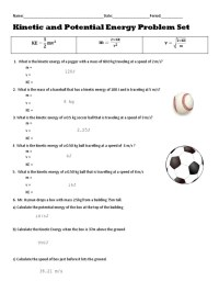 Kinetic And Potential Energy Worksheet Answer Key - Kidz ...